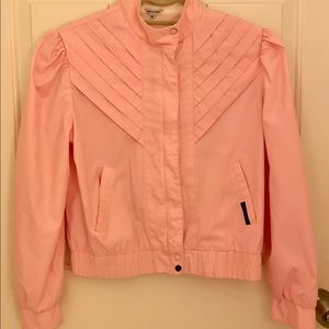 Jackets & Blazers - 80s Crop Moto Pink Puff Sleeves Jacket  Sm Med